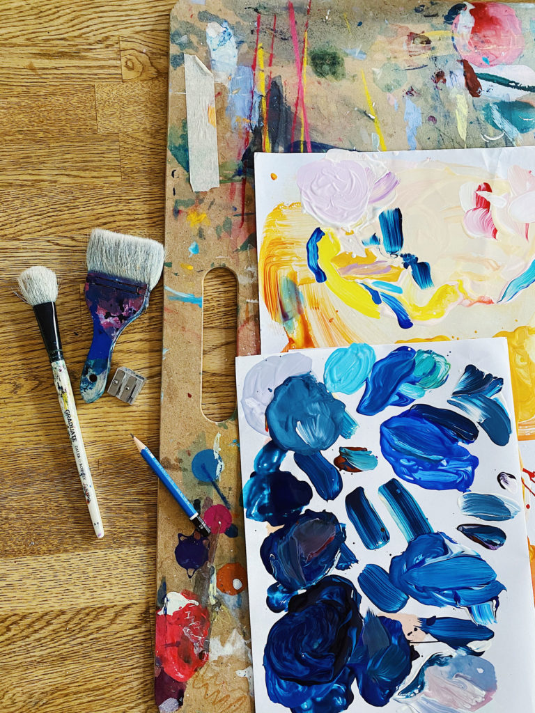 colourful paint and brushes emma howell studio scenes
