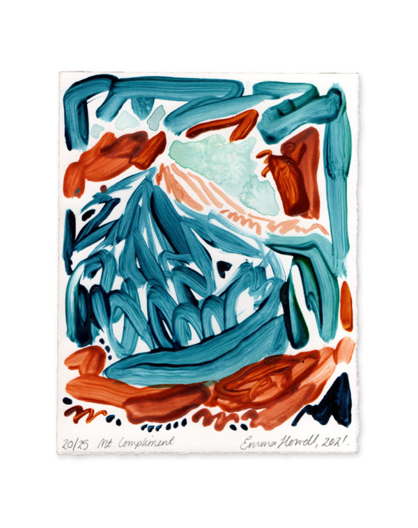 blue and orange mountain emma howell painting