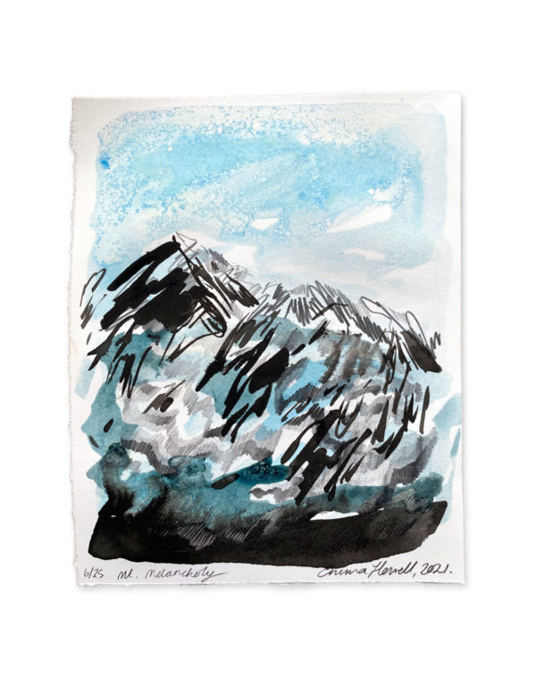 blue and black ink mountain emma howell