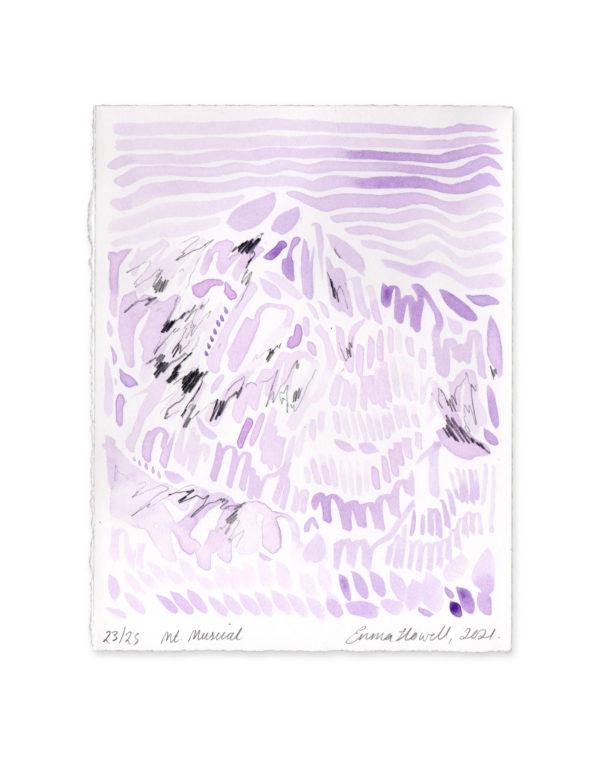 lilac purple mountain art emma howell