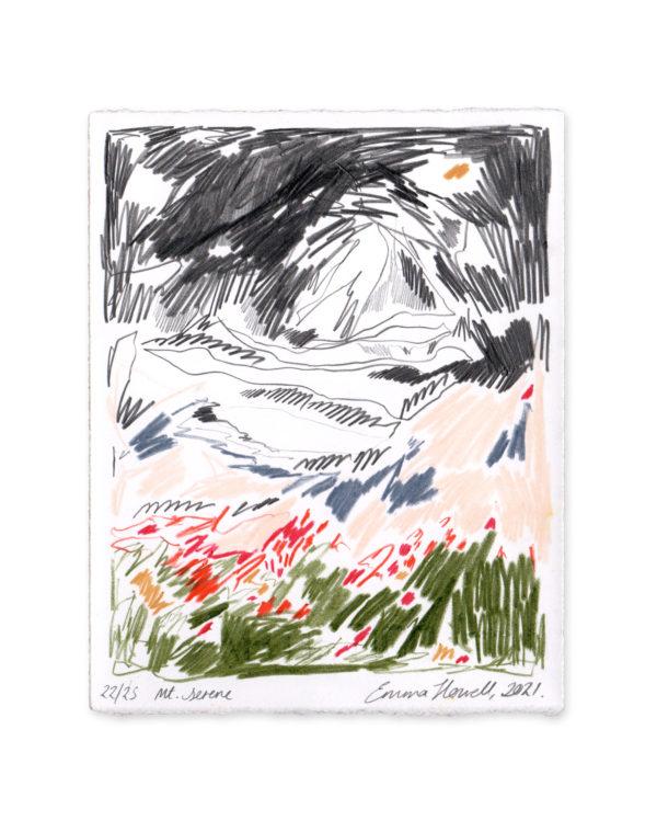 coloured pencil mountain emma howell art