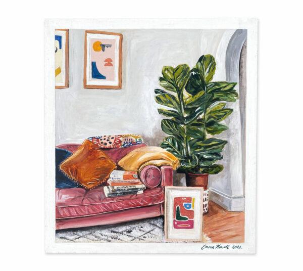 fiddle fig tree velvet sofa emma howell still life