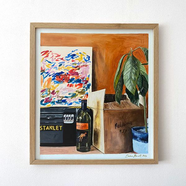 avocado tree toolbox painting emma howell framed
