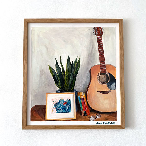 guitar painting emma howell framed