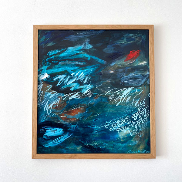 abstract blue painting emma howell framed