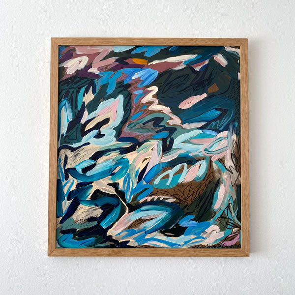 abstract painting framed oak emma howell