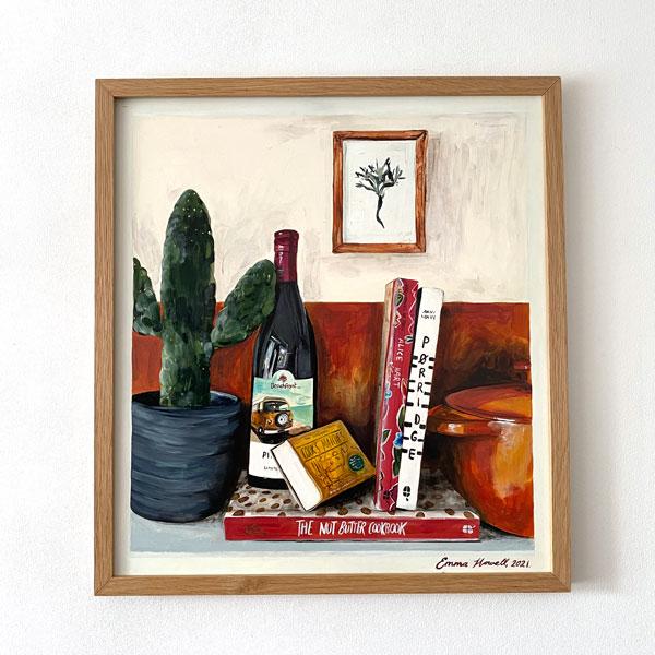 pinot bottle emma howell framed oak painting