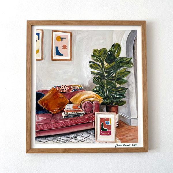 velvet sofa painting emma howell framed oak