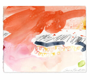 red pink mountain painting emma howell raw honey