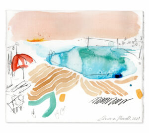 poolside painting blue pink emma howell raw honey