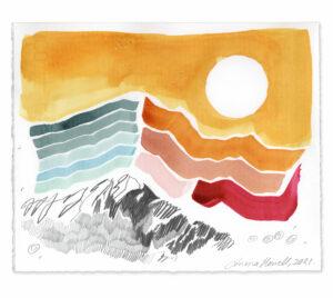 sun yellow mountain painting emma howell raw honey